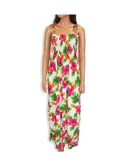 Tropical Tube-Top Long Dress Water Hibiscus 100% Rayon Color: White Length: 47-48 Inches From Bustline Size: One Size fits most Made in Hawaii - USA Matching Items Available