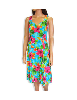 Teal Water Hibiscus Sundress Flower Tank Dress 100% Rayon Color: Teal Sizes: XS - 2XL Sweetheart Neckline Made in Hawaii - USA Matching Items Available