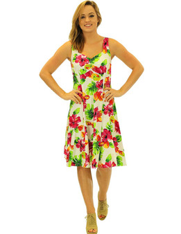 Short White Water Hibiscus Tank Rayon Dress 100% Soft Rayon Semi Tank Straps Sweetheart Neckline A-Line Hem Back Zipper Color: White Sizes: XS - 2XL Sweetheart Neckline Made in Hawaii - USA Matching Items Available