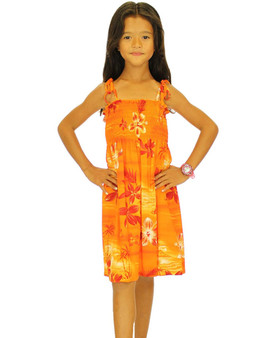 "Girl Rayon Smocked Dress Moonlight Scenic 100% Rayon Fabric Color: Orange One Size fits All (3 to 12 years old). Length: 21"", 24"", 28"" From Bust Line Made in Hawaii - USA"