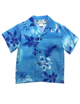 Boys Aloha Shirt Moonlight Scenic 100% Rayon Fabric Coconut Shell Buttons  Relaxed Fit, No Pocket  Color: Blue Sizes: 1 - 16 Made in Hawaii - USA