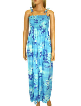 Long Smock Style Aloha Dress Moonlight Scenic 100% Rayon Fabric Color: Blue Length: 47-48 Inches From Bustline Size: One Size fits most Made in Hawaii - USA