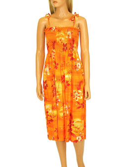 "Knee Mid Length Smocked Dress Elastic Top Design Moonlight Scenic 100% Rayon Fabric Color: Orange Length: 33"" (mid size) Size: One Size fits most Made in Hawaii - USA"