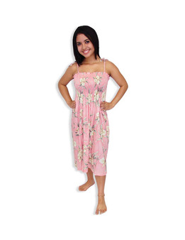 Mid Length Tube Top Orchids Smock Dress - Malana
