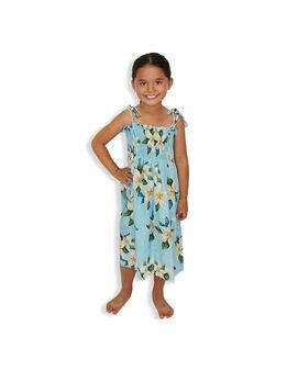 "Girl's Tube Top Dress - Plumeria Sky 100% Rayon Fabric Color: Blue One Size fits All (3 to 12 years old). Length: 21"", 24"", 28"" From the bust Made in Hawaii - USA"