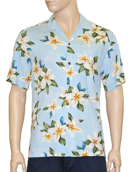 Plumeria Sky Men's Rayon Aloha Shirt 100% Rayon Fabric - Soft and Classy Open Collar - Relaxed Modern Fit Coconut shell buttons - Matching left pocket Color: Sky Blue Sizes: S - 3XL Made in Hawaii - USA
