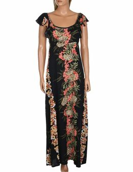 Maxi Long Empire Dress Flutter Sleeve Pineapple Panel 100% Rayon Fabric Long Maxi Dress Style Flutter Sleeves Design Color: Black Sizes: S - 3XL Made in Hawaii - USA
