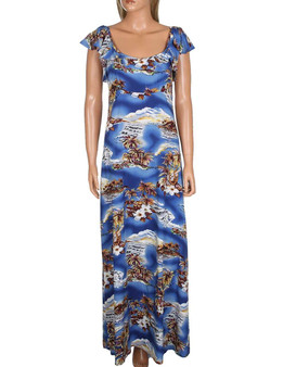 Maxi Long Empire Dress Flutter Sleeve Blue Hawaii 100% Rayon Fabric Long Maxi Dress Style Flutter Sleeves Design Color: Blue Sizes: S - 3XL Made in Hawaii - USA
