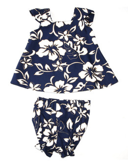 Baby Clothes 2 Piece Hawaii Capri Set Classic Hibiscus Pareo Includes a Comfortable Top and Matching Bottom Diaper Cover 100% Cotton Fabric Color: Navy Sizes: 6M - 4T Made in Hawaii - USA