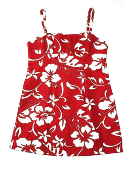 Girls Hawaiian Dress Spaghetti Straps Classic Hibiscus Pareo 100% Cotton Fabric Adjustable Spaghetti Straps Color: Red Sizes: XXS - XL Made in Hawaii - USA