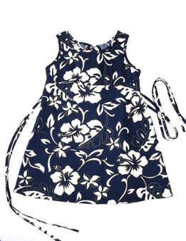 Girls Hawaii Dress Tank Classic Hibiscus Pareo 100% Cotton Fabric Tank Shoulder Straps Adjustable Waist Laces Back Zipper Color: Navy Sizes: XXS - L Made in Hawaii - USA