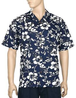 Classic Hibiscus Pareo Aloha Shirt 100% Cotton - Versatile and Cool Open Collar - Relaxed Modern Fit Coconut shell buttons - Matching left pocket Color: Navy Sizes: S - 4XL Made in Hawaii - USA