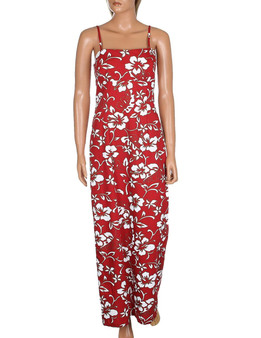 Long Maxi Aloha Dress Spaghetti Straps Classic Hibiscus Pareo 100% Cotton Fabric Adjustable Spaghetti Straps Maxi Long Style Dress Color: Red Size: XS - XL Zipper on Back Made in Hawaii - USA