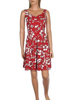 Short Hawaii Sundress Smock Back Classic Hibiscus Pareo 100% Cotton Fabric Smock Back with Zipper - Adjustable Easy Fit Sweetheart Neckline Pleated A-Line Bottom Hilo Hattie Exclusive Design Color: Red Sizes: XS - XL Made in Hawaii - USA