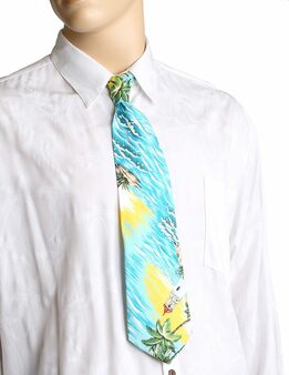 """Tropical Aloha Necktie Diamond Head Lighthouse Awesome tropical patterns and colorful designs, perfect for casual and formal events 100% Cotton Fabric Color: Green Length: 53"""" Width: 4"""" At wide end Made in Hawaii"""