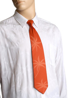 "Loulu Palms Hawaiian Aloha Orange Necktie Awesome tropical patterns and colorful designs, perfect for casual and formal events 100% Cotton Fabric Color: Orange Length: 53"" Width: 4"" At wide end Made in Hawaii"