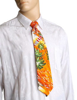 """Orange Aloha Necktie Diamond Head Lighthouse Awesome tropical patterns and colorful designs, perfect for casual and formal events 100% Cotton Fabric Color: Orange Length: 53"""" Width: 4"""" At wide end Made in Hawaii"""