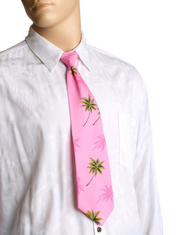 "Cotton Hawaiian Aloha Necktie Palms Trees Awesome tropical patterns and colorful designs, perfect for casual and formal events 100% Cotton Fabric Color: Pink Length: 53"" Width: 4"" At wide end Made in Hawaii"