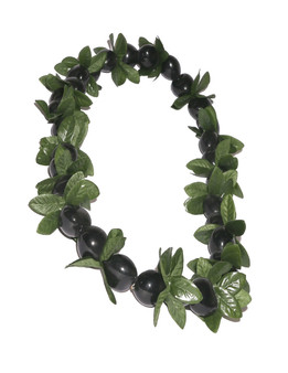 Black Kukui Nut and Point Leaf Lei