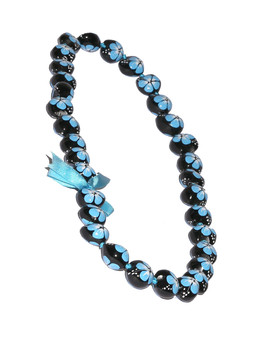 Blue Hand Painted Flower Polished Kukui Nut Candlenut Lei Linked Kukui Lei Design Durable - Long-lasting Unscented - Hypoallergenic Color: Blue Length: 38 Inches Circumference Imported Do you need flower accessories for your big event? Ask about quantity discounts.