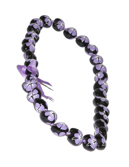 Purple Hand Painted Flower Polished Kukui Nut Candlenut Lei Linked Kukui Lei Design Durable - Long-lasting Unscented - Hypoallergenic Color: Purple Length: 38 Inches Circumference Imported Do you need flower accessories for your big event? Ask about quantity discounts.