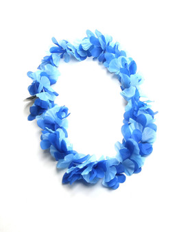 Blue Hawaiian Flower Silk Fun Party Lei Durable - Long-lasting Silk Unscented - Hypoallergenic Color: Blue Length: 40 Inches Circumference Imported Do you need flower accessories for your big event? Ask about quantity discounts.