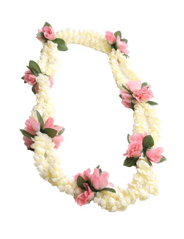 Double Pikake Rope and Pink Rosebuds Silk Lei Small Silk Roses Accent Durable - Long-lasting Silk Unscented - Hypoallergenic Color: Pink Length: 40 Inches Circumference Imported Do you need flower accessories for your big event? Ask about quantity discounts.