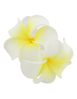 2 Hawaiian Plumeria Flower Hair Clip Natural