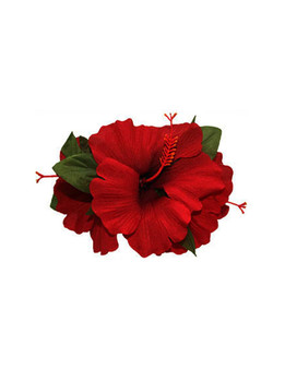 3 Cluster Hibiscus Flower Silk Flower Hair Clip Red  Tropical Hibiscus Flower Hair Clip Design Bendable Soft Silk Triple Flower Alligator Clip for Secure Hold Color: Red Size: 5 X 4 Inches (12.7 X 10.16 cm) Imported