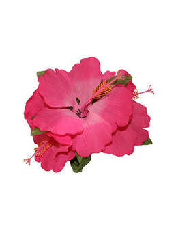 3 Cluster Hibiscus Flower Silk Flower Hair Clip Pink  Tropical Hibiscus Flower Hair Clip Design Bendable Soft Silk Triple Flower Alligator Clip for Secure Hold Color: Pink Size: 5 X 4 Inches (12.7 X 10.16 cm) Imported