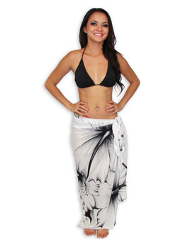 Hawaiian White Hibiscus Sarong This tropical Sarong comes with flower design 100% Rayon Fabric Color: White Size: 62 X 46 Inches (157.48 X 116.84 Centimeters)