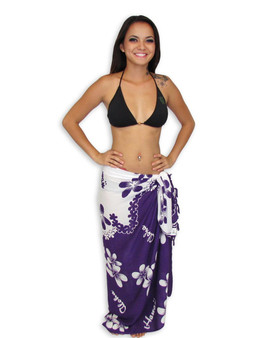 Sarong Pareo Cover Up Island Plumeria Flowers White-Purple 100% Soft Rayon Fabric Beach / Pool Pareo Cover Up Braided Fringes on Ends Color:White / Purple Size: 62 x 46 inches (157.48 X 116.84 Centimeters)