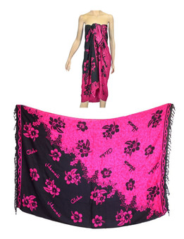 Sarong Pareo Cover Up Hibiscus Hot Pink 100% Soft Rayon Fabric Beach / Pool Pareo Cover Up Braided Fringes on Ends Color:Black / Hot Pink Size: 62 x 46 inches (157.48 X 116.84 Centimeters)