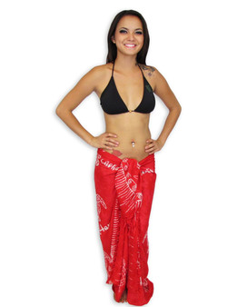 Rayon Beach Sarong Cover Up Red Honu 100% Soft Rayon Fabric Beach / Pool Pareo Cover Up Braided Fringes on Ends Color: Red Size: 62 x 46 inches (157.48 X 116.84 Centimeters)