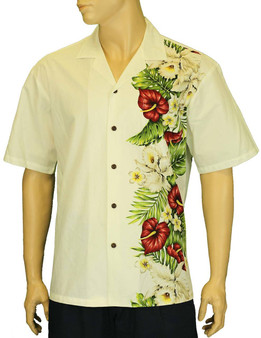 Alika Side Border Band Hawaiian Shirt 100% Cotton Fabric Open Pointed Folded Collar Genuine Coconut Buttons Seamless Matching Left Pocket Color: White Sizes: S - 4XL Care: Machine Wash Cold, Cool Iron Made in Hawaii - USA
