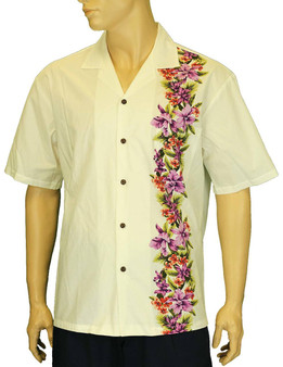 Manele Hawaiian Aloha Shirt Side Border Band 100% Cotton Fabric Open Pointed Folded Collar Genuine Coconut Buttons Seamless Matching Left Pocket Color: White Sizes: S - 3XL Care: Machine Wash Cold, Cool Iron Made in Hawaii - USA
