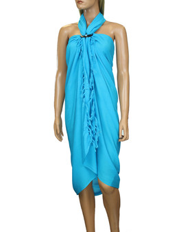 Soft Rayon Sarong - Pareo Beach Cover Up - Solid Color 100% Soft Rayon Fabric Beach / Pool Pareo Cover Up Braided Fringes on Ends Color: Blue Size: 62 x 46 inches (157.48 X 116.84 Centimeters)