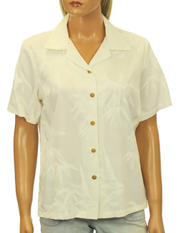 Bamboo Camp Rayon Aloha White Blouse Relaxed Camp Blouse 100% Rayon Fabric Short Sleeves Wooden Buttons Color: White Sizes: XS - 2XL Made in Hawaii - USA