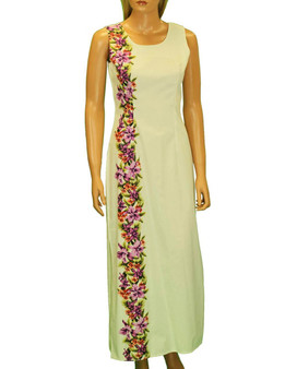 Long  Border Design Hawaiian Wedding Dress Manele Maxi Tank Design 100% Cotton Fabric 2 Slits - 19 Inches Long on Both Sides Seamless Back Zipper Color: White Sizes: S - 2XL Made in Hawaii - USA
