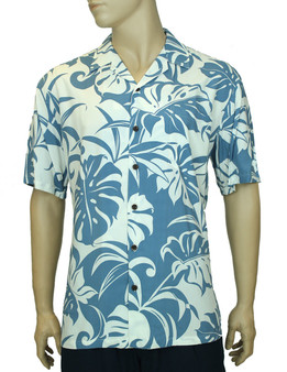 Makena Style Aloha Rayon Green Shirt 100% Rayon Fabric Coconut Shell Buttons Matching left pocket Color: Blue Sizes: S - 3XL Made in Hawaii - USA