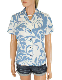 Makena Hawaiian Shirts for Women in Rayon 100% Rayon Soft Fabric Slimming Darted Back Bust Darts & Cap Sleeves Comfortable Fit Design Coconut Shell Buttons Multi Color Selection Color: Blue Sizes: S - 2XL Made in Hawaii - USA