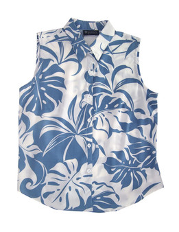 Sleeveless Tank Blouse Tropics Makena 100% Rayon Soft Fabric Collar Tank Top Blouse Curved Hemline Color: Blue Sizes: XS - 3XL Made in Hawaii - USA
