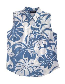 Sleeveless Tank Blouse Tropics Makena 100% Rayon Soft Fabric Collar Tank Top Blouse Curved Hemline Color: Blue Sizes: XS - 3XL Made in Hawaii - USA