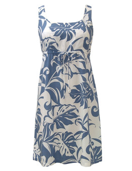 Rayon Adjustable Front Aloha Dress Makena 100% Rayon Front String Tie Easy Adjustable Fit Square Neck Design Empire Drawstring Look Color: Blue Sizes: XS - 3XL Made in Hawaii - USA