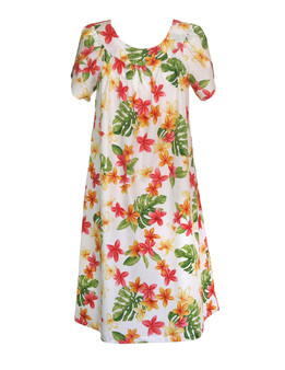 Fashion Plumeria Pull Over Short Muumuu 100% Cotton Fabric Mid-Length Muumuu Color: White Sizes: S - 3XL Petal Sleeve MuuMuu Comfortable Fit Pull Over Dress Single Side Pocket Made in Hawaii - USA