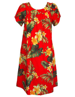 Puunene Pull Over Muumuu Dress 100% Cotton Mid-Length Muumuu Color: Red Sizes: S - 3XL Petal Sleeve MuuMuu Comfortable Fit Pull Over Dress Single Side Pocket Made in Hawaii - USA