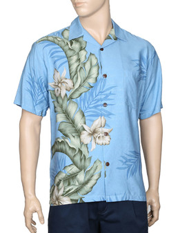 Aloha Hawaii Shirt Elegant Orchid Panel 100% Rayon Dobby Fabric - Soft and Classy Open Collar - Relaxed Modern Fit Coconut Shell Buttons - Seamless Matching left pocket Color: Light Blue Sizes: S - 3XL Made in Hawaii - USA