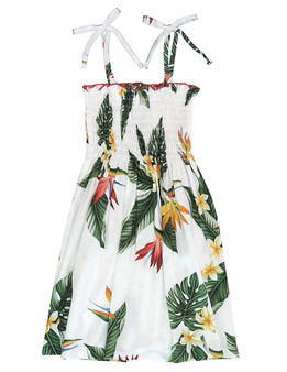 Smock Girls Hawaiian Dress Birds of Paradise Made in Hawaii - USA 100% Rayon Fabric Tie On Shoulder Tie Halter Style Color: White Sizes: 2, 4, 6, 8, 10, 12, 14 Made in Hawaii - USA