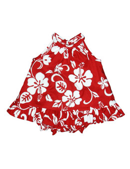 Baby Girl Halter Flower Dress Set 2 Piece Classic Hibiscus Includes a Comfortable Top and Matching Bottom Diaper Cover 100% Cotton Color: Red Sizes: 6M - 4T Made in Hawaii - USA
