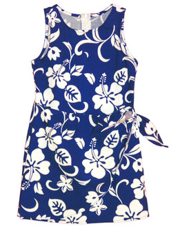 Girl's Sarong Flower Dress Classic Hibiscus 100% Cotton Fabric Tank Shoulder Straps Adjustable Waist Sarong Front Flap Back Zipper Color: Royal Sizes: 2 - 14 Made in Hawaii - USA